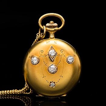 HÄNGE / FICKUR, gammalslipade diamanter, 14K guld. Borel Neuchatel & Cie.