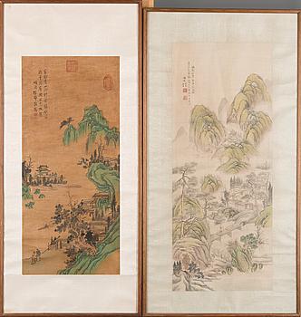 RULLMÅLNINGAR, 2 ST, akvarell på silke och på rispapper, signerade, Kina, troligen 1900-talets första hälft.