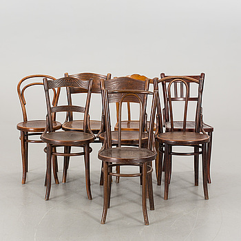 A SET OF 8 DIFFERENT THONET STYLE CHAIRS, 20th century,