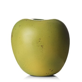 93. Hans Hedberg, a faience sculpture of a green apple, Biot, France.