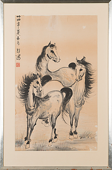 661. A painting 'Horses' by Xu Beihong (1895-1953), signed and dated May 1945, with the seal of the artist.
