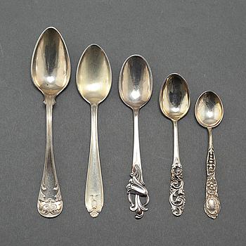 PARTI SKEDAR, 26 st, silver, bla GAB, 1900-tal. Vikt 296 g.