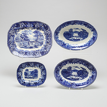 "Two earthenware plates and two bowls, ""Malmö"", Rörstrand, around eyar 1900."