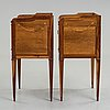 A pair of gustavian bedside tables by georg haupt (master in stockholm 1770-1784), not signed.