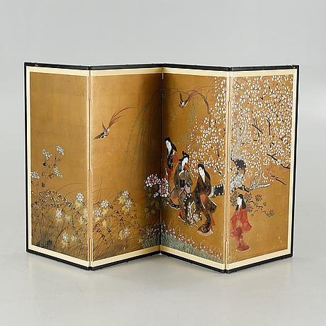 A japanese folding screen, 20th century