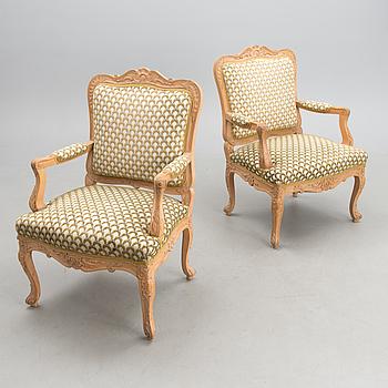 KARMSTOLAR, ett par, Louis XV-stil, 1800-talets slut.