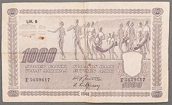 SEDEL, 1000 mark, Finland, 1945.