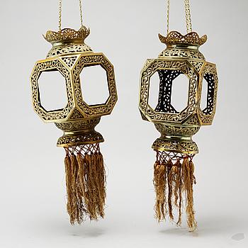 A pair of brass lanterns, China, 20th Century.