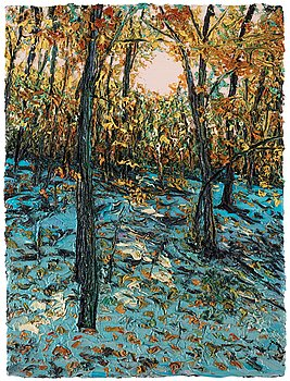 "431. Robert Terry, ""Fall trees, snow""."