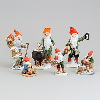 Six earthenware figurines after Jenny Nyström, late 20th century.