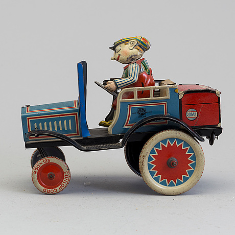 Distler comic car & georg fischer penny toy, germany, first half of the 20th century