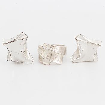 BJÖRN WECKSTRÖM, Ring och ett par örhängen, silver. Lapponia.