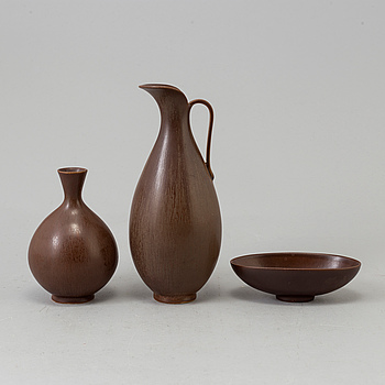 BERNDT FRIBERG, BERNDT FRIBERG, jug, vase and bowl, stoneware, Gustavsberg, two labelled.