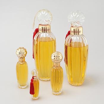 VALENTINO, factices, five perfumebottles.