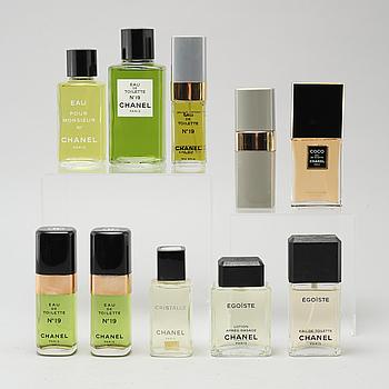 CHANEL, så kallade faktiser, 10 st, parfymflaskor.