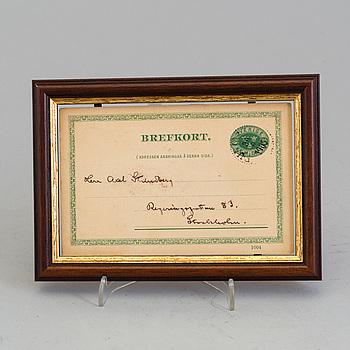 AUGUST STRINDBERG, brevkort/autograf, signerat.