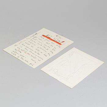 GÖSTA ADRIAN-NILSSON, blyerts på papper, osignerad. Troligtvis utförd på 1930-talet & BREV från CARL KYLBERG till GAN.