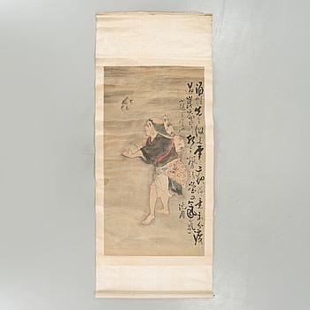 RULLMÅLNING, tusch och färg på papper, Japan, 1800-tal.