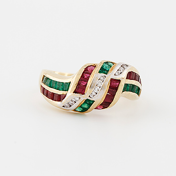A square cut emerald and ruby and brilliant cut diamond ring.