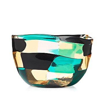 """27. FULVIO BIANCONI, a """"pezzato"""" glass bowl, Venini, Murano Italy 1950-60's."""