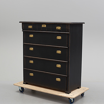 A circa 1900 painted chest of five drawers.