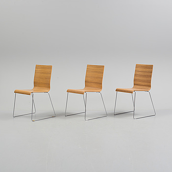 """3 """"Kuadra chair 1321"""" chairs from Pedrali Italy."""