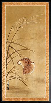 VÄGGPLAKETTER, 3 st, s k Byobu, Japan, 1900-tal, två signerade.