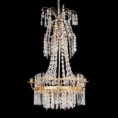 A late gustavian seven-light chandelier, circa 1800.