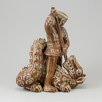 """GUNNAR NYLUND, GUNNAR NYLUND, a unique stoneware sculpture, """"S:t Michael and the dragon"""", signed, Rörstrand."""