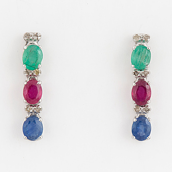 A pair of ruby, emerald, sapphire and brilliant cut diamond earrings.