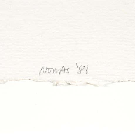 Richard nonas, mixed media on paper, signed nonas '87.