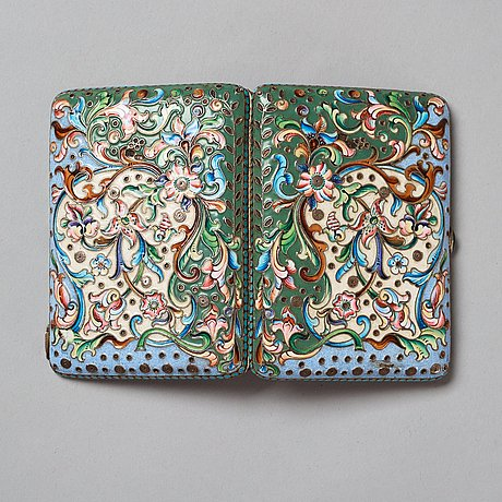 A russian 20th century silver-gilt and enamel cigarette-case, unidentified makers mark, moscow 1908-1917.