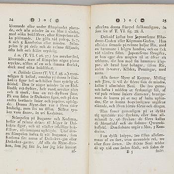 Viktig avhandling om Japans mynt, 1779.