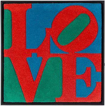 "INRAMAD MATTA. ""Classic Love"". Handtuftad 2007. 77 x 77 cm. Robert Indiana."