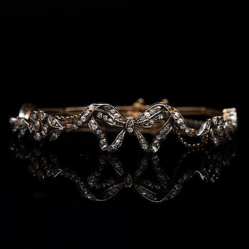 ARMBAND, gammal-, rosen- och åttkantsslipade diamanter, 14K guld, silver.