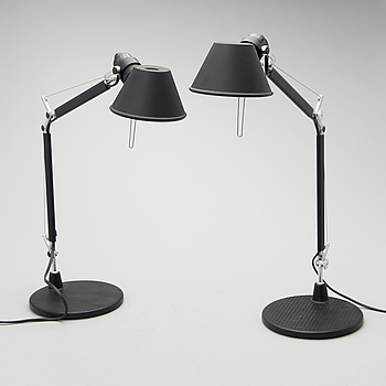 A pair of 'Tolomeo, micro' table lamps by Michele De Lucchi and Giancarlo Fassina for Artemide, Italy.