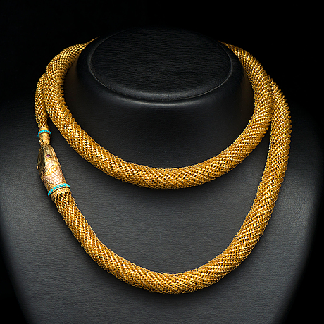 A necklace, 18k gold, turqouise, garnets. middle of 19th century.
