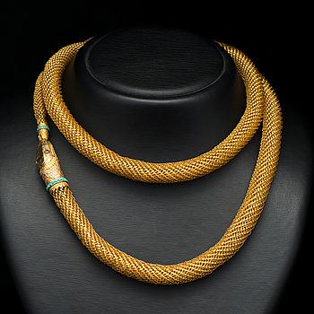 KAULAKORU, 18K kultaa, turkoosit, granaatit. 1800-luvun keskiväli.
