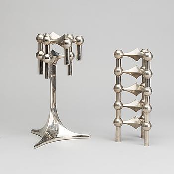 LJUSSTAKE, 8 delar, vitmetall, Ceasar Stoffi & Fritz Nagel, Tyskland, 1900-talets andra hälft.
