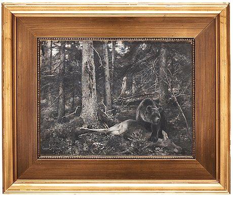 Bruno liljefors, björn med nedlagt byte.