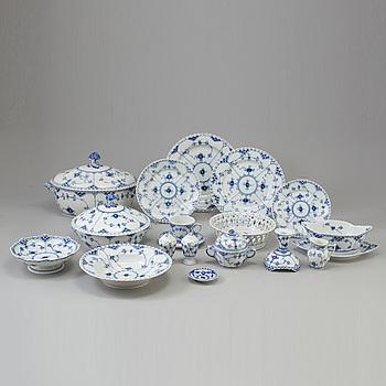 "ROYAL COPENHAGEN, An 86-piece """"Blue Fluted"", full lace, porcelain coffee- and dinnerservice, Royal Copenhagen, Denmark."