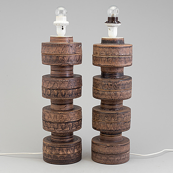 A 1970s pair of ceramic table lights, probably from Italy.