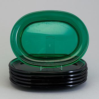 Six glass plates by Josef Frank for Firma Svenskt tenn.