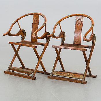 A pair of Chinese armchairs, second half of the 20th century.