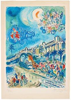 """518. MARC CHAGALL Efter, """"Bataille des fleurs"""", ur: """"Nice et la Côte d'Azur""""."""
