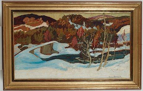 "Helmer osslund, ""en vårdag vid faxälven"" (a spring day by the fax river, landscape from the north of sweden)."