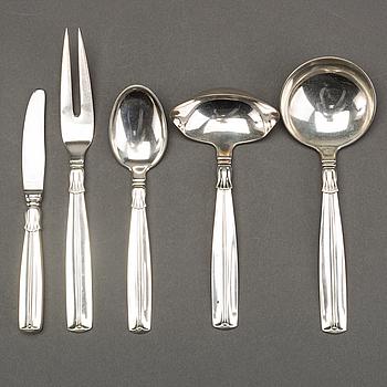 """BESTICK, 14 delar, silver, """"Lotus"""", Köpenhamn, 1950-tal, kontrollör Johannes Siggaard."""