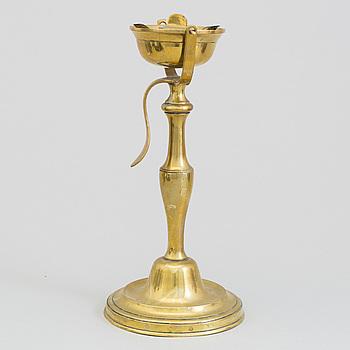 OLJELAMPA, brons, 1700-tal.
