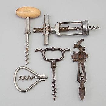 KORKSKRUVAR, 5 st, 1800-/1900-tal.