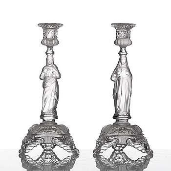 LJUSSTAKAR, ett par, pressglas, 1800-tal.